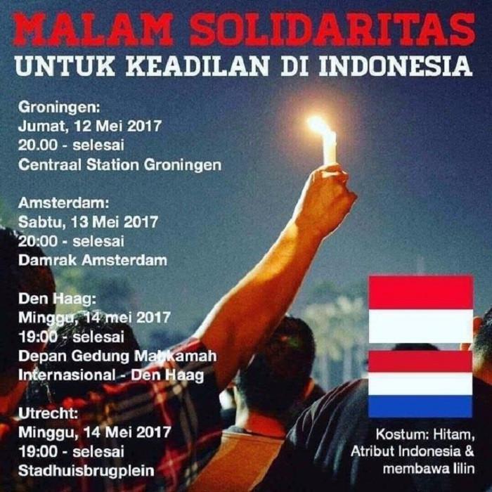 Aksi Solidaritas untuk Ahok di Belanda (Foto:Istemewa)