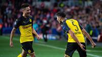 Selebrasi Hakimi usai membantu Dortmund mengalahkan Slavia Praha di Liga Champions (Dok UEFA)