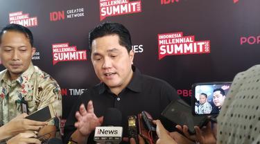 Menteri BUMN Erick Thohir dalam acara Indonesia Millennial Summit yang digelar di Jakarta Selatan, Jumat (17/1/2020).