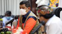 Ketua Satgas COVID-19 Doni Monardo mendorong Pemprov Bali agar membentuk Satgas Karantina saat Rapat Koordinasi di Kantor Gubernur Bali, Denpasar, Kamis (1/4/2021). (Badan Nasional Penanggulangan Bencana/BNPB)