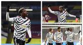Selebrasi pemain Manchester United, Paul Pogba usai mencetak gol saat mengenakan jersey tandang yang bermotif hitam-putih. (Foto: AFP & AP)