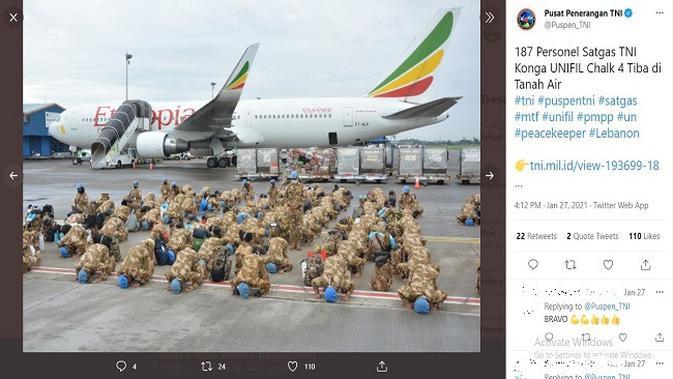 Gambar Tangkapan Layar Unggahan dari Akun Twitter @Puspen_TNI