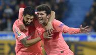 Carles Alena menyumbang satu gol saat Barcelona kalahkan Alaves 2-0 (ANDER GILLENEA / AFP)