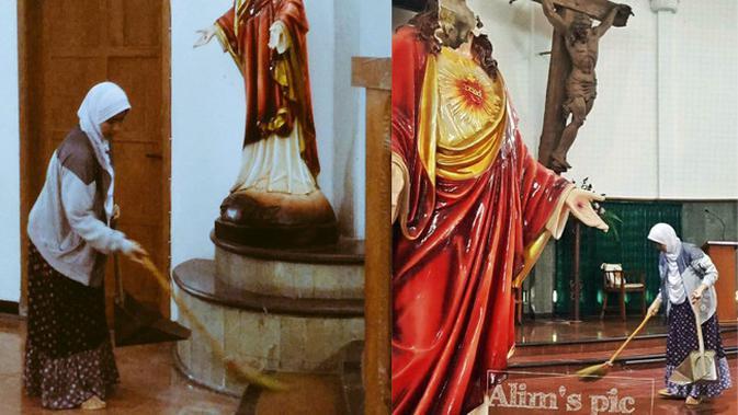Sosok Wanita Berhijab yang Sapu Gereja Santa Lidwina (Candra Malik/twitter.com)