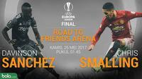 Statistik Davinson Sanchez Vs Chris Smalling di Europa League (Bola.com/Adreanus Titus)
