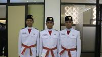 Dari kiri ke kanan : Rayhan Alfaro Ferdinand Siregar (Paskibraka Nasional 2019 DKI Jakarta), Rafi Ahmad Falah (Paskibraka Nasional 2019 Banten), dan Rangga Wirabrata Mahardika (Paskibraka Nasional 2019 Jawa Barat)