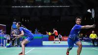 Aksi ganda campuran Indonesia, Hafiz Faizal/Gloria Emanuelle Widjaja, pada perempat final Thailand Masters 2020, Jumat (24/1/2020). (PBSI)