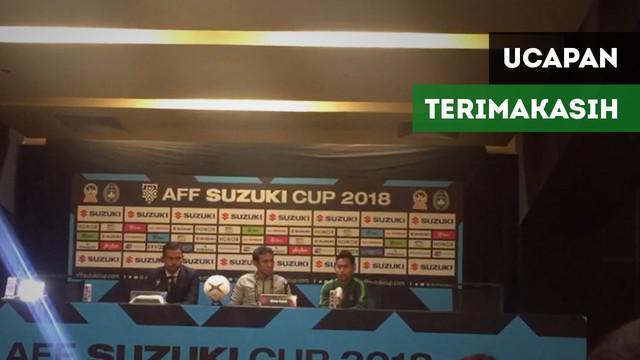 Berita video pada konferensi pers tim Indonesia saat berhasil mengalahkan Timor Leste 3-1 di Piala AFF 2018, pelatih Bima Sakti dan Andik Firmansyah mengucapkan terima kasih kepada dukungan suporter Indonesia.