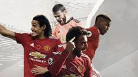 David de Gea, Paul Pogba, Edinson Cavani dan Bruno Fernandes. (Bola.com/Dody Iryawan)