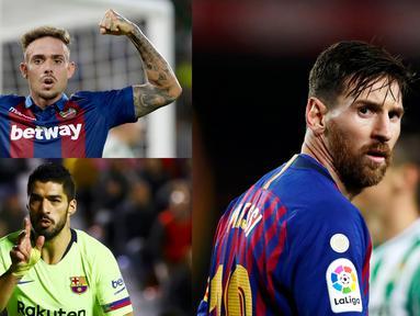 Lionel Messi memimpin puncak top scorer sementara La Liga dengan 14 Gol. Berikut pemain yang masuk bursa pencetak gol terbanyak liga Spanyol. Diantaranya, Luis Suarez dan Stuani. (Foto Kolase AP dan AFP)