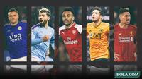 Trivia 5 Striker, Jamie Vardy, Sergio Aguero, Aubameyang, Raul Jimenez,  Roberto Firmino (Bola.com/Adreanus Titus)