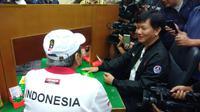 Ketua PB GABSI, Eka Wahyu Kasih (kanan) bersama Michael Bambang Hartono (Liputan6.com/Defri Saefullah)