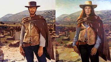 Virgina Eastwood sebagai koboi di film The Good, the Bad and the Ugly