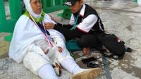 Calon haji ditemukan lemas, gemetar, dan berkeringat dingin di Babussalam. (www.kemenag.go.id)