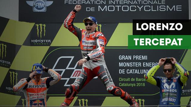 Jorge Lorenzo jadi yang tercepat di MotoGP Catalunya mengungguli Marc Marquez dan Valentino Rossi.