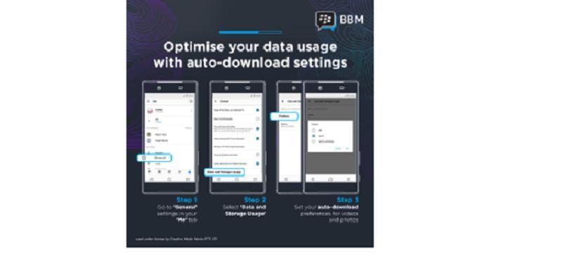 Optimisasi penggunaan data di BBM saat mengunduh foto atau video (Sumber: BBM)