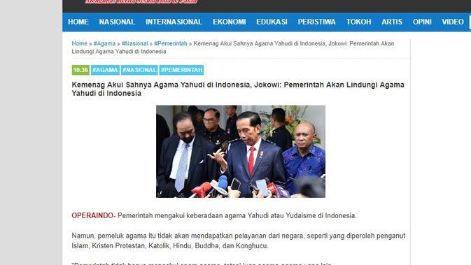 Cek Fakta Jokowi Dan Kemenag Akui Sahnya Agama Yahudi Di Indonesia Cek Fakta Liputan6 Com