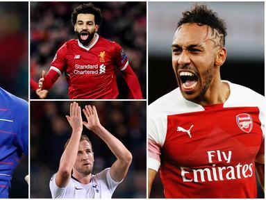 Aubameyang, Kane dan Salah berada di posisi teratas pencetak gol terbanyak sementara di Premier League dengan sama-sama mengoleksi 13 gol. Berikut daftar top scorer sementara Liga Inggris pekan ke 20. (Foto Kolase AP dan AFP)