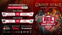 Live streaming IEL University Super Series 2021 Fase Grup D, Selasa (26/1/2021) pukul 17.00 WIB dapat disaksikan melalui platform Vidio, laman Bola.com, dan Bola.net. (Dok. Vidio)