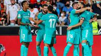 Real Madrid meraih kemenangan 2-1 atas Valencia pada laga pekan kelima La Liga di Estadio Mestalla, Senin (20/9/2021) dini hari WIB. (AP Photo/Alberto Saiz)