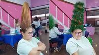 Viral Gaya Rambut Unik Sambut Hari Natal, Bikin Geleng Kepala. (Sumber: TikTok/julia.campos2106)