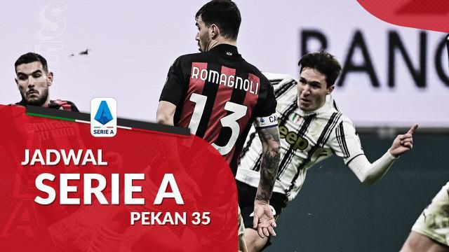 Berita motion grafis jadwal Liga Italia pekan ke-34, AC Milan tantang Juventus di Allianz Stadium.