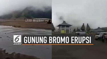 Gunung Bromo kembali erupsi pada Jumat (19/7) sore sekitar pukul 16.37 WIB.