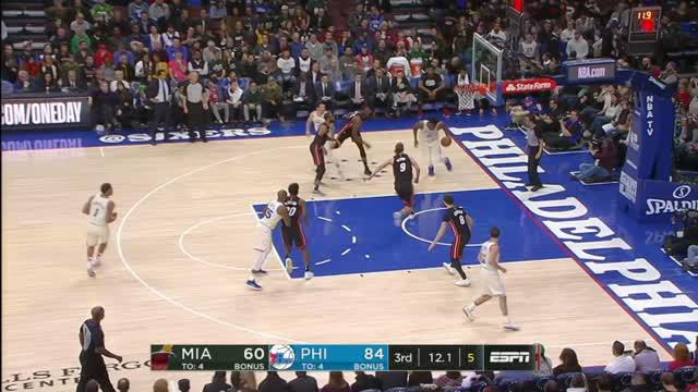 Berita video game recap NBA 2017-2018 antara Philadelphia 76ers melawan Miami Heat dengan skor 103-97.