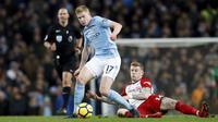 Aksi pemain Manchester City, Kevin De Bruyne (kiri) melewati adangan pemain West Bromwich Albion, James McClean pada lanjutan Premier League di The Etihad Stadium, Manchester, (31/1/2018). Manchester City menang 3-0. (Martin Rickett/PA via AP)