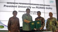 Penyelenggaraan Seleksi Beasiswa senilai Rp 66 Milyar untuk 1440 pelajar dari President University bekerjasama dengan Ruangguru.