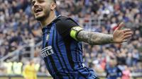 Seleberasi penyerang Inter Milan, Mauro Icardi usai mencetak gol cepat ke gawang Hellas Verona. (AP Photo/Luca Bruno)