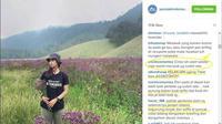 Foto pendaki perempuan dengan membawa bunga berwarna ungu itu terlanjur dibully netizen. Padahal keputusan mencabut bunga berwarna ungu itu