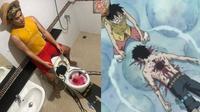 6 Cosplay Low Budget Jadi Luffy One Piece Ini Bikin Ngakak (sumber: Instagram/lowcostcosplayth)