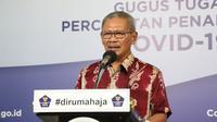 Juru Bicara Penanganan COVID-19 di Indonesia, Achmad Yurianto saat konferensi pers Corona di  Graha BNPB, Jakarta, Minggu (12/4/2020). (Dok Badan Nasional Penanggulangan Bencana/BNPB)