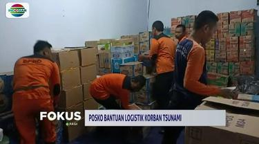 Bantuan logistik terus mengalir bagi para korban tsunami Banten dan Lampung. Salah satunya di posko penampungan bantuan logistik yang dibuka pihak TNI di Makoramil Cinangka, Serang.