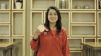 Peraih emas downhill putri, Tiara Andini Prastika, saat ditemui di Jakarta, Jumat (31/8/2018). (Bola.com/Vascal Sapta Hadi)