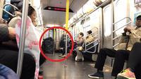 Tunawisma penghuni subway New York (Sumber: Twitter/pinotski)