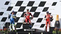 Pembalap Ducati, Andrea Dovizioso, berhasil meraih podium juara pada MotoGP Austria di Sirkuit Red Bull Ring, Minggu (16/8/2020) malam WIB. (AFP/Joe Klamar)