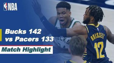 Berita video highlights laga musim reguler NBA 2020/2021 antara Indiana Pacers melawan Milwaukee Bucks yang berakhir dengan skor 133-142, Jumat (14/5/2021) pagi hari WIB.