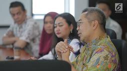 Sekretaris SCM Gilang Iskandar saat beraudensi dengan Kementerian Keuangan di Gedung Djuanda 1, Jakarta, Selasa (1/10/2019). Pertemuan tersebut membahas kerja sama di bidang sektor media. (Liputan6.com/Faizal Fanani)