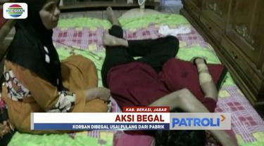 Tangan seorang buruh pabrik di Kabupaten Bekasi, Jawa Barat, nyaris putus usai dibacok pembegal.