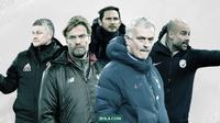 Deretan pelatih di Premier League: Jurgen Klopp, Pep Guardiola, Frank Lampard, Ole Gunnar Solskjaer dan Jose Mourinho. (Bola.com/Dody Iryawan)