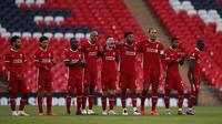 Skuat Liverpool saat menghadapi Arsenal pada Community Shield 2020 di Stadion Wembley, Sabtu (29/8/2020) malam WIB. (Andrew Couldridge/Pool via AP)