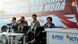 Direktur Program dan Produksi SCTV, Harsiwi Achmad mengatakan saat ini sedang dibahas berbagai produk siaran yang berkaitan dengan Timnas Indonesia muda (Liputan6.com/Helmi Fithriansyah)