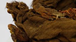 Penampakan tangan dan kaki mumi gadis Inca berusia 500 tahun yang tersimpan di Museum Arkeologi Nasional, La Paz, Bolivia, Kamis (15/8/2019). Para ahli mengatakan mumi ini berasal dari suatu daerah di dataran tinggi Andes dekat La Paz selama tahun-tahun terakhir peradaban Inca. (AP Photo/JuanKarita)
