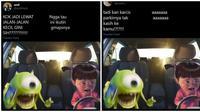 Meme kocak masalah saat menyetir mobil, kamu pernah merasakan? (Sumber: Twitter/@