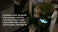 Video viral seorang kakek ketuk pagar rumah Taqy Malik. (TikTok/@suamiciyil)