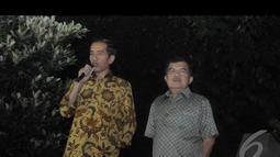Jokowi dan JK menyambut gembira dan mengapresiasi hasil keputusan Mahkamah Konstitusi yang menolak seluruhnya gugatan Prabowo-Hatta, Jakarta, Kamis (21/8/2014) (Liputan6.com/Herman Zakharia)