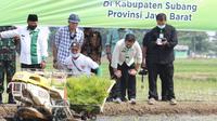 Menteri Pertanian Syahrul Yasin Limpo meninjau kegiatan tanam padi di Kabupaten Subang, Jawa Barat.