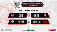 Jadwal dan Live Streaming MPL Indonesia Season 8 Pekan Ke-8 di Vidio, Jumat 1 Oktober 2021. (Sumber : dok. vidio.com)